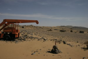 The old red dredger on the way to the fossils.
